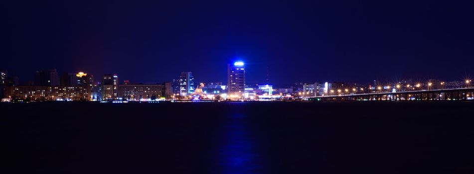 Night Skyline of Dnipropetrovsk over the river Dnipro, Ukraine