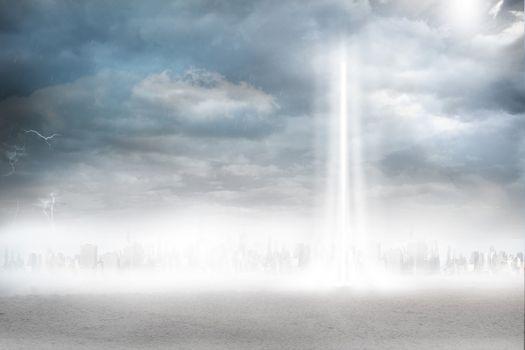 City on the horizon with light beam