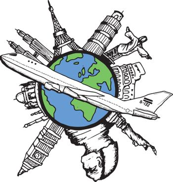 Aviation and travel doodles