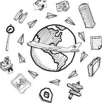 Global tourism doodles