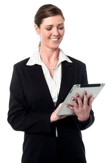 Corporate lady using a tablet device