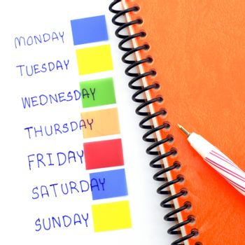 notebook post it monday to sunday