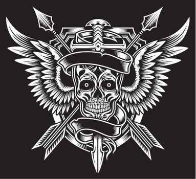 Winged Skull with Sword and Arrows