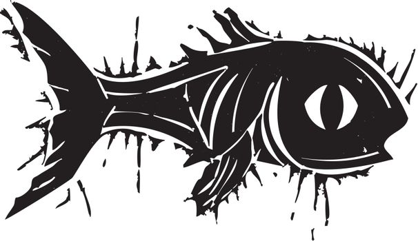 Woodblock style print of fish with a big eye.