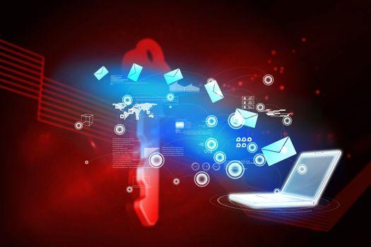 Email communication background against shiny red key on black background