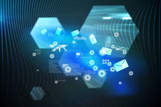 Email communication background against shiny hexagons on black background
