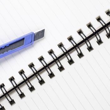 cutter on notebook