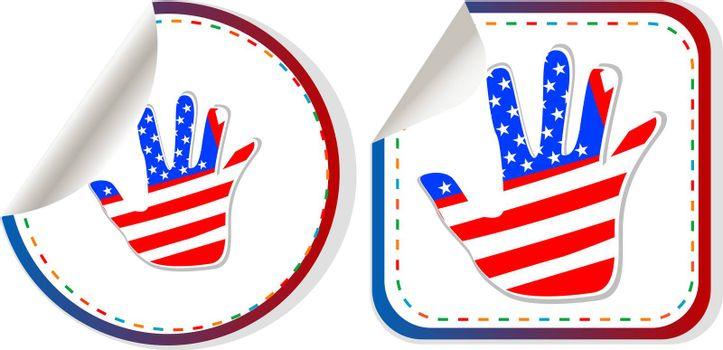 american hand sign stickers set