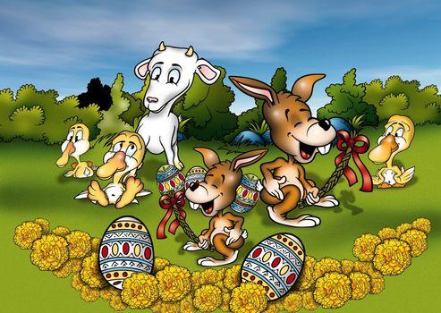 Animals and Easter - Cartoon Background Illustration, Bitmap