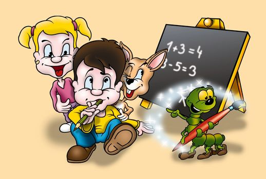 Education - Cartoon Background Illustration, Bitmap