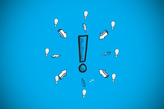 Composite image of exclamation mark doodle