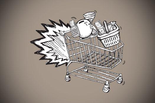 Composite image of e commerce doodle