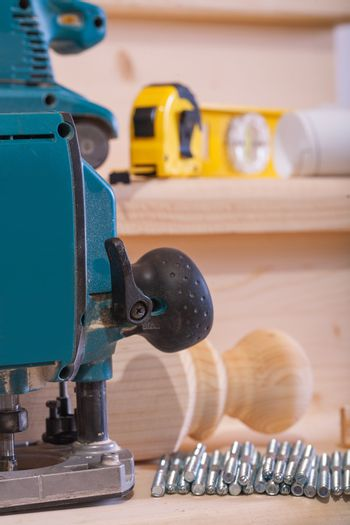 close up view on woodworking tools on wooden boards
