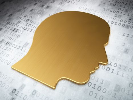 Information concept: Golden Head on digital background, 3d render