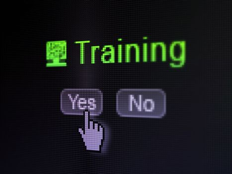Education concept: buttons yes and no with pixelated Computer Pc icon, word Training and Hand cursor on digital computer screen, selected focus 3d render