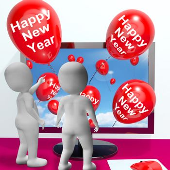 Happy New Year Balloons Showing Online Celebration and Invitations