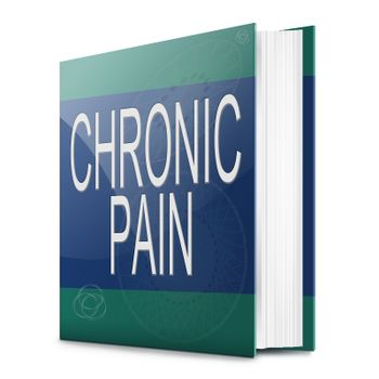 Illustration depicting a text book with a chronic pain concept title. White background.