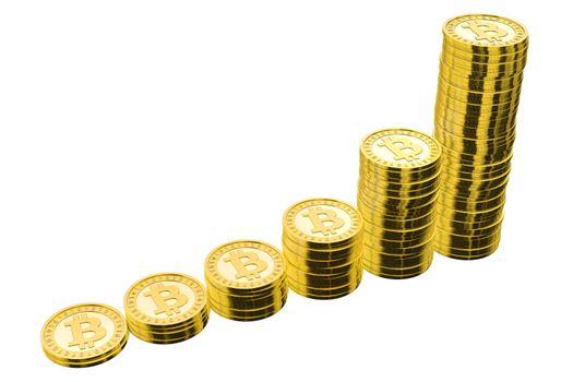 Six Stacks of Golden Bitcoins