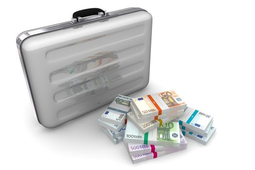 Euro Cash Packets and Light Silver Grey Briefcase