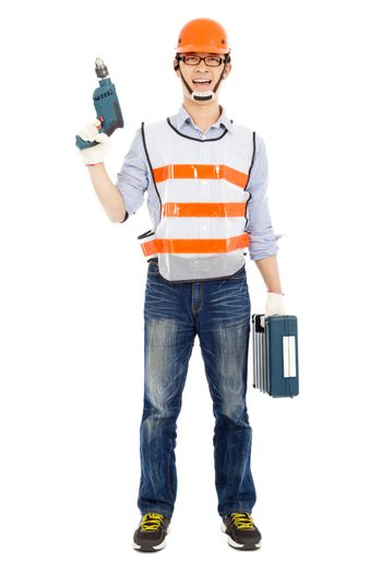 Male worker  holding  power drill and tool box