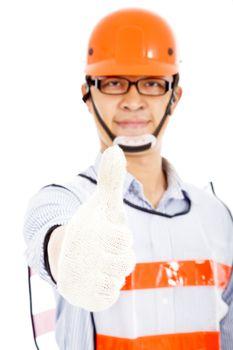 Male worker  show a handshake