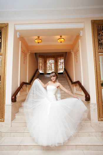 bride in hall with staircase