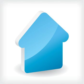 Blue 3d house icon design on white background