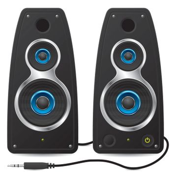 Stereo speakers with plug