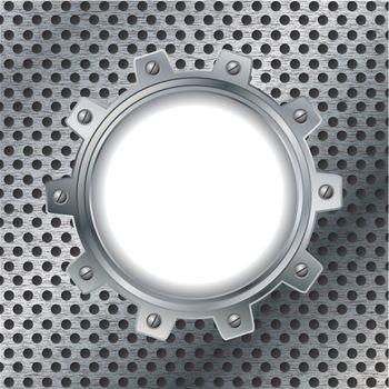 Cogwheel on dotted metal plate