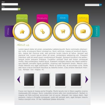 Website template design with labeled golden rings