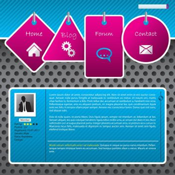 Website template design with dotted background and hanging labels