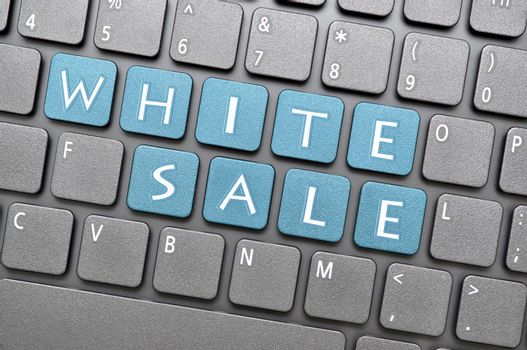 White sale on keyboard