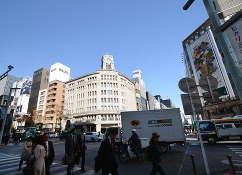 GINZA, JAPAN - NOV 26 : Ginza crossroad