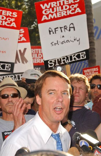 John Edwards at the Writers Guild of America Picket Line in front of NBC Studios. Burbank, CA. 11-16-07/ImageCollect