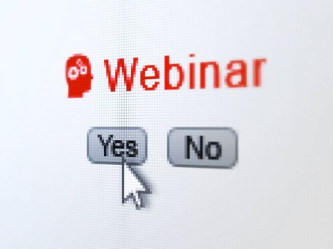 Education concept: buttons yes and no with pixelated Head With Gears icon, word Webinar and Arrow cursor on digital computer screen, selected focus 3d render