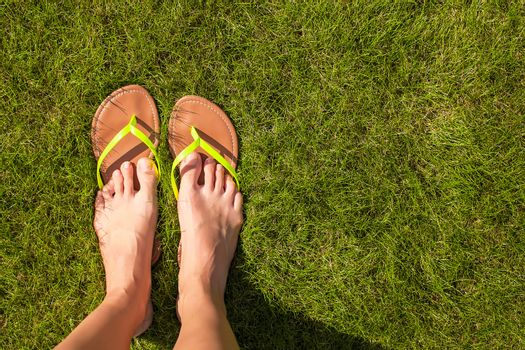 Closeup of woman's legs in slippers on green grass