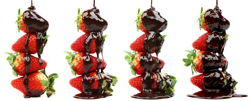 Strawberry in chocolate syrup