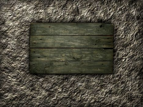 Old wooden planks on stone background. Wooden sign