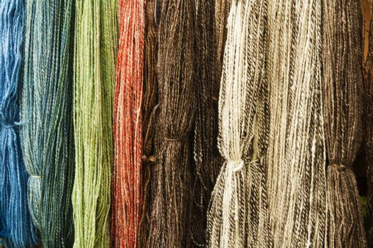 Colorful wool thread background, close up