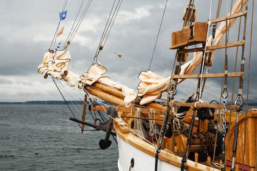 Mast of an ancient sailing vessel.  Taken at a shipyard.