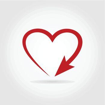 Arrow heart. A vector illustration