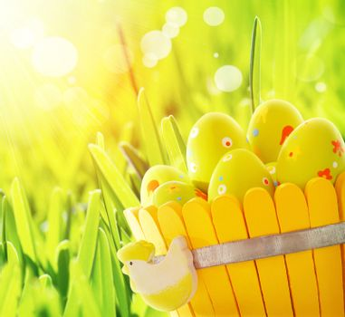 Beautiful yellow decorated Easter eggs in the basket on the grass, bright sunlight, traditional Easter symbol, Christian holiday
