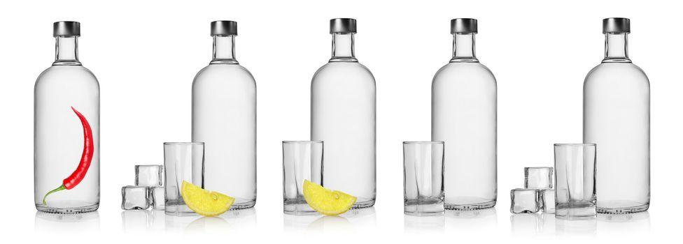 Bottles of vodka and glasses