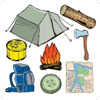 set of sketch illustration of camp objects