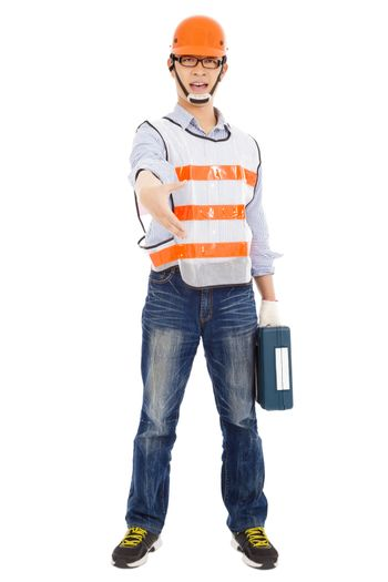 Male worker  holding  tool box and handshake pose