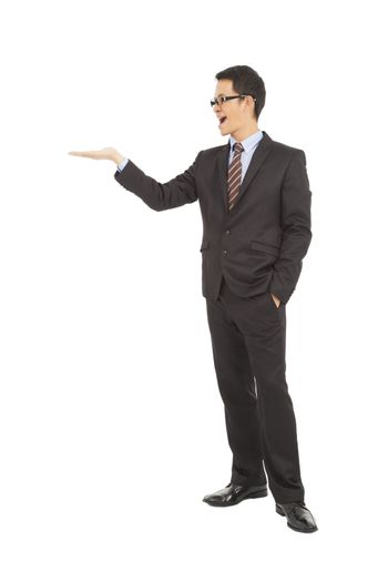 proud businessman raise hand to show something