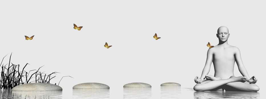 Grass into water near stones steps and butterfly leading to human meditating in white background