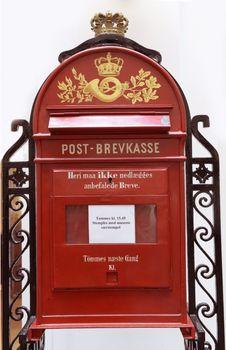 Vintage danish post box. Photo taken in the Royal Danish Post Museum. Copenhagen, Denmark.