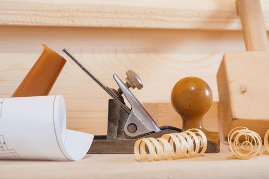 very close up view on composition of woodworking tools
