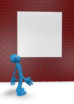 cartoon guy looks at high brick wall - 3d illustration